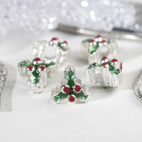 Талисман 'Веточка' новогодняя, цвет зелёно-красный в серебре Ош