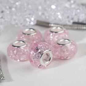 Бусина 'Сахарный кварц', цвет розовый в серебре Ош