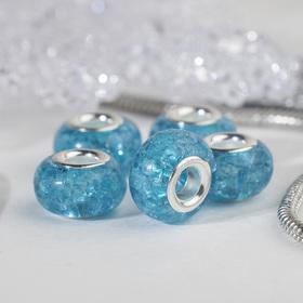 Бусина 'Сахарный кварц', цвет голубой в серебре Ош