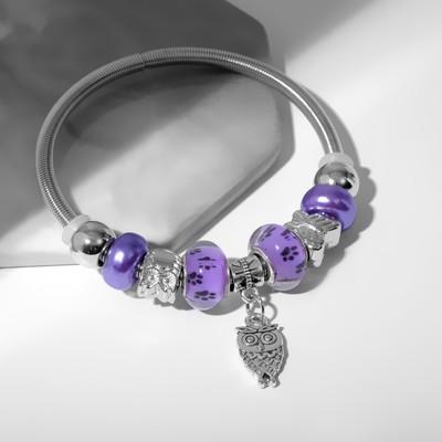 """Браслет ассорти """"Марджери"""" сова, цвет фиолетово-чёрный в серебре, d=6,5 см"""