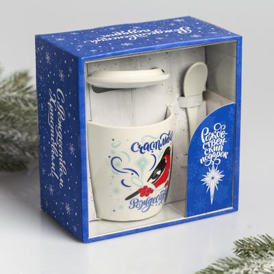 Набор подарочный «Счастливого Рождества!», 3 предмета: кружка, ложка, крышка - Фото 1