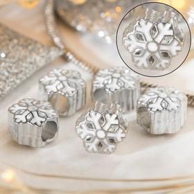 Талисман 'Снежинка' льдинка, цвет белый в серебре Ош