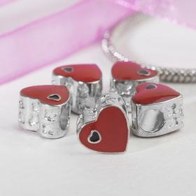 Талисман 'Два сердечка', цвет чёрно-красный в серебре Ош