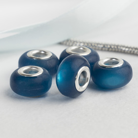 Бусина 'Матовый стиль' под фосфорный агат, цвет тёмно-синий в серебре Ош
