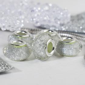 Бусина 'Гранёная льдинка' с блёстками, цвет белый в серебре Ош