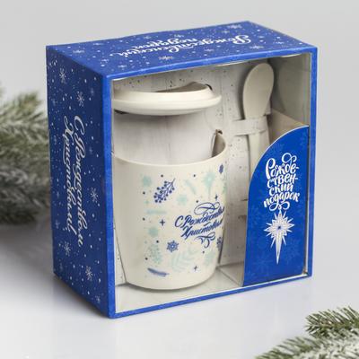 Набор подарочный «С Рождеством Христовым!», 3 предмета: кружка, ложка, крышка - Фото 1
