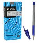 """Ручка шариковая Beifa """"Стильная"""" рез.упор, 0.5 стержень синий, трехгран., метал.након."""