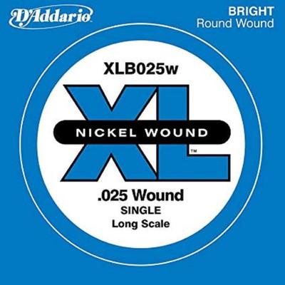 Отдельная струна для бас-гитары D'Addario XLB025W Nickel Wound никелированная, .025