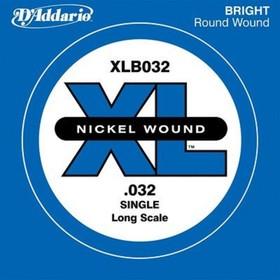 Отдельная струна для бас-гитары D'Addario XLB032 Nickel Wound никелированная, .032