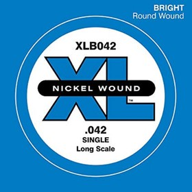 Отдельная струна для бас-гитары D'Addario XLB042 Nickel Wound никелированная, .042