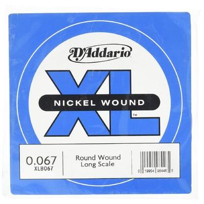 Отдельная струна для бас-гитары D'Addario XLB067 Nickel Wound никелированная, .067