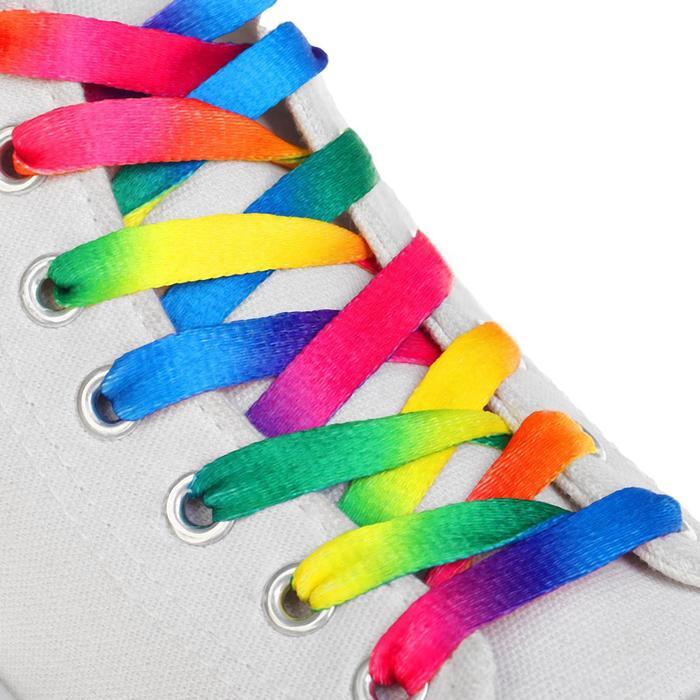 Шнурки для обуви, пара, плоские, 8 мм, 120 см, цвет «радужный»
