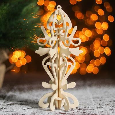 Сборная деревянная модель «Снежинка 7» (ёлочная игрушка) - Фото 1