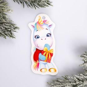 Шильдик на подарок Новый год «Единорог», 3,5 ×8,7 см Ош