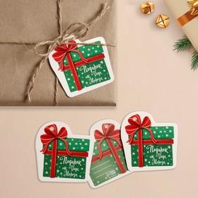 Шильдик на подарок Новый год «Подарок от Деда мороза», 6,5 ×6,8  см Ош