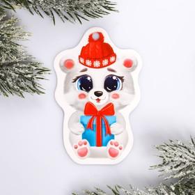 Шильдик на подарок Новый год «Мишка» 5,7 ×9,0  см Ош