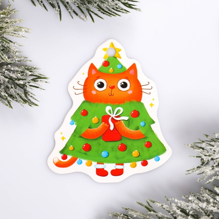 Шильдик на подарок Новый год «Новогодний котенок», 6,5 ×7,5 см