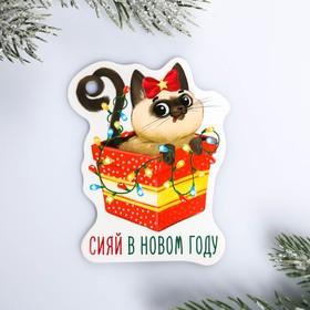 Шильдик на подарок Новый год «Сияй в новом году», 6,5 ×8,2  см Ош
