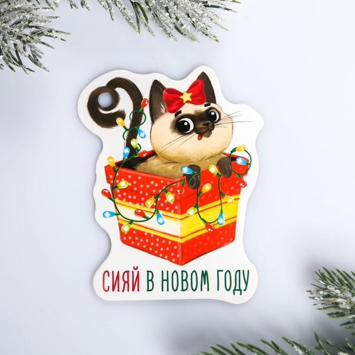 Шильдик на подарок Новый год «Сияй в новом году», 6,5 ×8,2 см