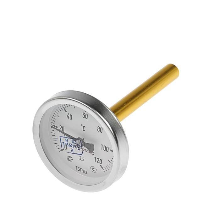 Термометр биметаллический, 120°C, с погружной гильзой 100 мм