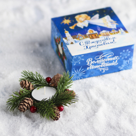 Свеча в венке «С Рождеством Христовым!» Ош
