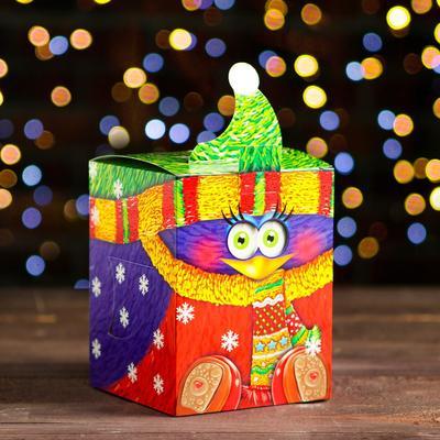 """Коробка картонная """"Смекубик снегирь"""", 12 х 12 х 15,5 см"""