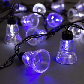Гирлянда 'Нить' улично-комнатная с насадками 'Колокол', 5 м, LED(IP44)-40-220V, мигает, нить тёмная, свечение бело-синее Ош