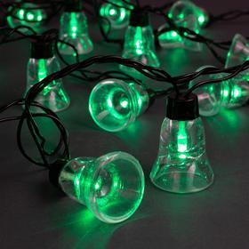 Гирлянда 'Нить' улично-комнатная с насадками 'Колокол', 5м, LED(IP44)-40-220V, 8 режимов, нить тёмная, свечение зелёное Ош