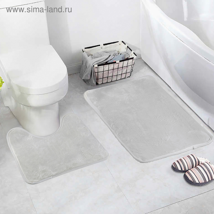 "Набор ковриков для ванны и туалета 2 шт 40х40, 40х60 см ""Мини"" цвет бежевый"