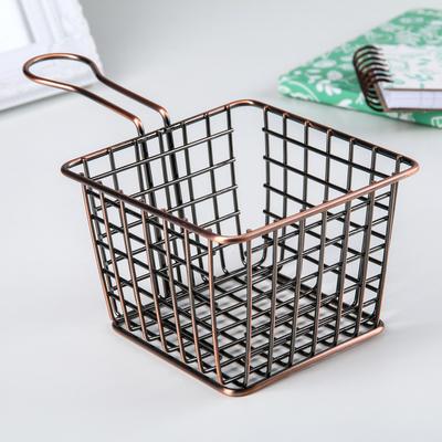 Корзина для мелочей Доляна, 18,2×10,3×8,5 см, цвет медь - Фото 1