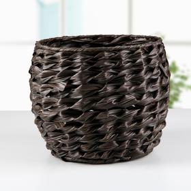 Кашпо плетёное 'Косичка', круглое, цвет коричневый Ош