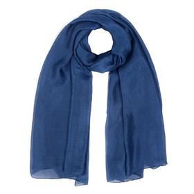 Палантин женский шёлковый, цвет синий, размер 110х188