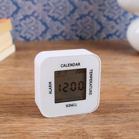 Часы-будильник электронные с таймером, термометром и календарем, 7х7 см, 2ааа Ош