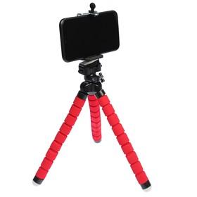 Штатив-тренога LuazON настольный, для телефона, гибкие ножки, 26 см, красный Ош