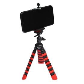 Штатив LuazON настольный, для телефона, гибкие ножки, высота 20 см, чёрно красный Ош