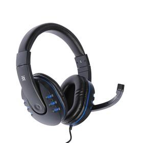 Наушники Defender Warhead G-160, игровые, микрофон, 3.5 мм, 2.5 м, черно-синий Ош
