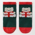 Носки детские «Мишка с подарком», цвет зеленый, размер 20-22