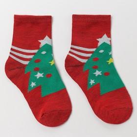 Носки детские «Ёлка в звёздах», цвет красный, размер 16-18 Ош