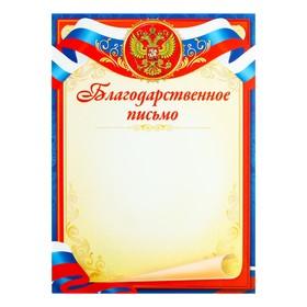 Благодарственное письмо 'Символика РФ' синяя рамка, триколор Ош