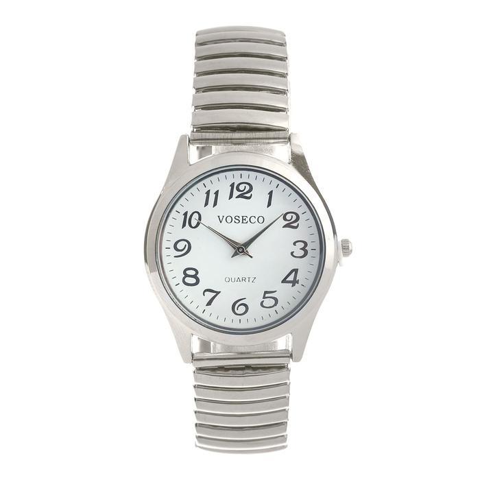 """Часы наручные женские, браслет """"резинка"""" серебро. d -4cм."""
