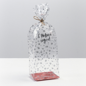 Пакет подарочный с жестким дном «С Новым Годом», 7 х 11 х 30 см Ош