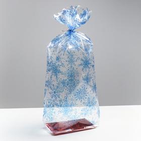 Пакет подарочный с жестким дном «Снежинки», 11 х 18 х 50 см Ош