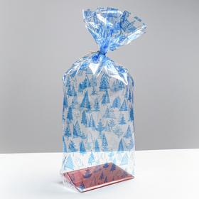 Пакет подарочный с жестким дном «Новогодние елочки», 14 х 14 х 50 см Ош