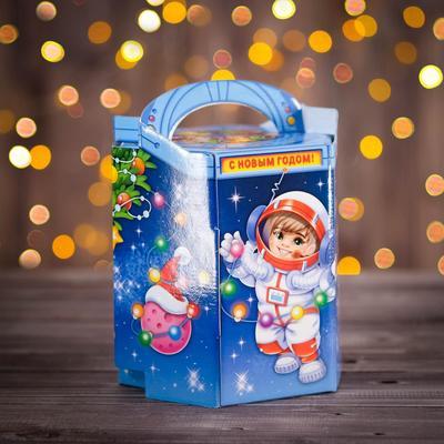 "Подарочная коробка ""Новый год на орбите"", 18 х 15 х 13 см"