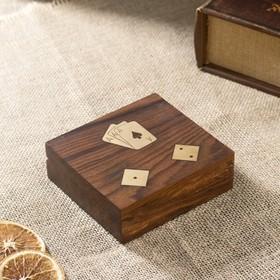 """Сувенирный набор """"Колода карт и игральные кубики"""" 10,5х11,5х4 см"""