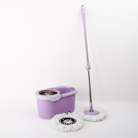 Набор для уборки: ведро с металлической центрифугой 17 л, швабра, доп. насадка, цвет МИКС Ош