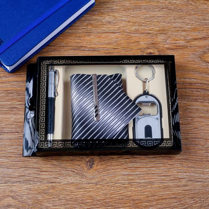 Набор подарочный 4в1 ручка, открывалка, галстук с заколкой