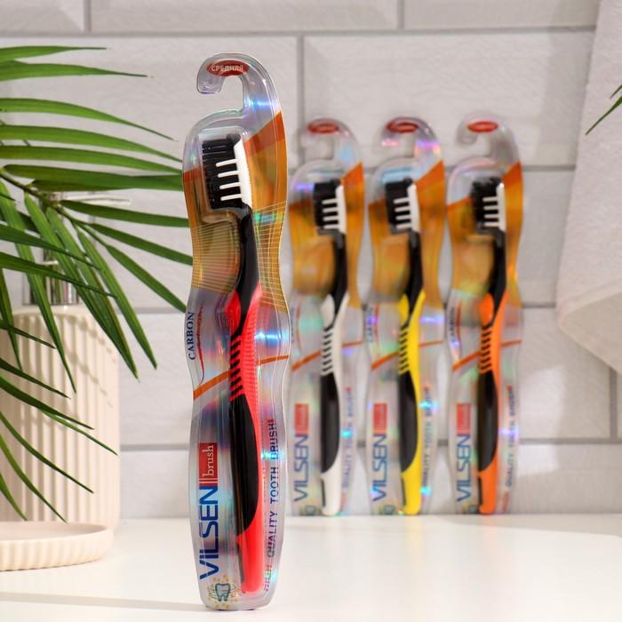 Зубная щетка Vilsen brush «Древесный уголь», средняя, цвет чёрный