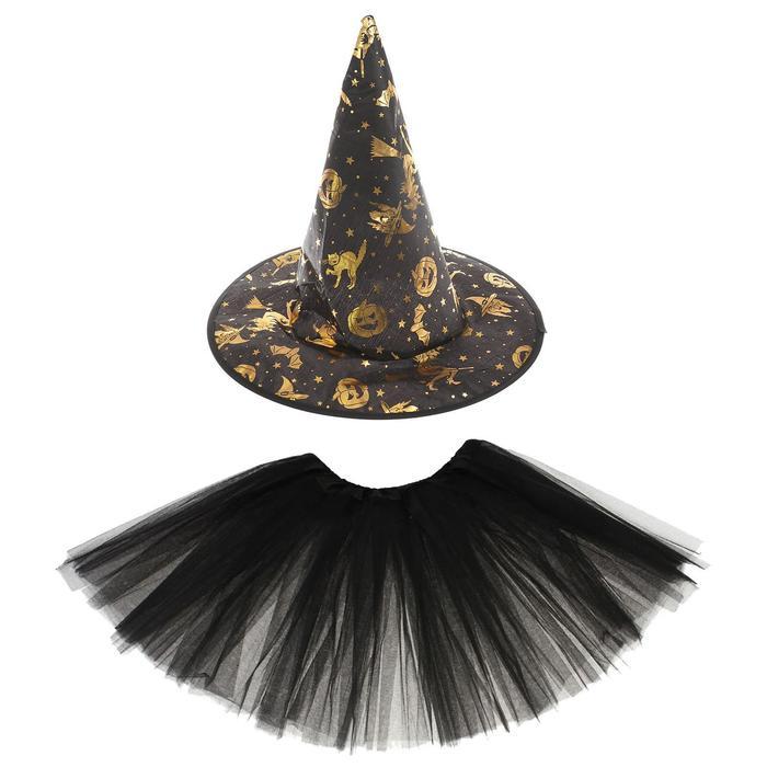 Карнавальный набор Ведьмочка, юбка, шляпа, 3-5 лет, обхват головы 54 см