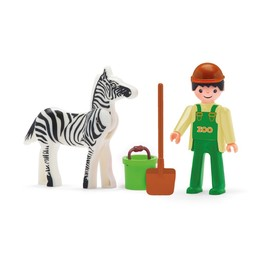 Игрушка «Сотрудник зоопарка» с зеброй и аксессуарами, 8 см